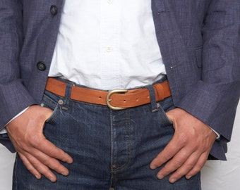 Mens tan leather dress belt with detachable belt buckle
