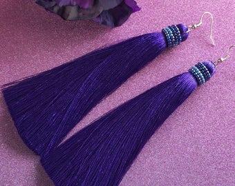 Purple tassel earrings, beaded tassel earrings, silk tassel earrings, boho style