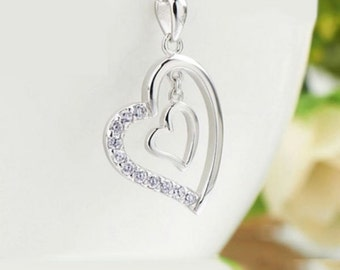 sterling silver Double heart pendant charm for necklace