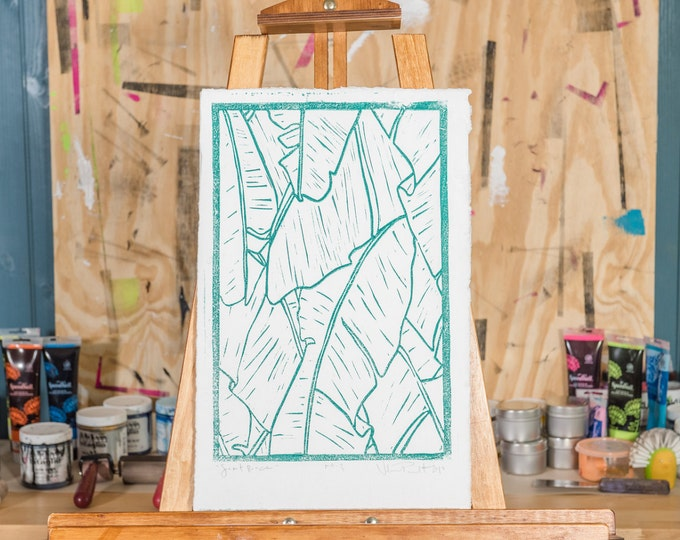 "11x17"" Original Linocut, ""Secret Beach"" Hand Carved. Hand Inked. Hand Pressed."