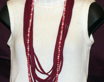 Deep Red T-Shirt Necklace with Beads