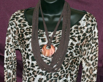 Brown T-Shirt Necklace with Shell Pendant