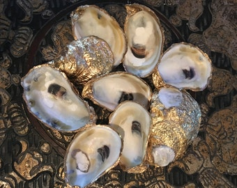 Gold Leafed Oyster Shells - FREE SHIPPING