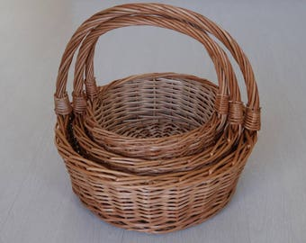 Wicker Basket, fruit basket, handwoven gathering basket, egg basket, Weidenkorb, country decor bag, Home Decor, cesto de mimbre, panier.
