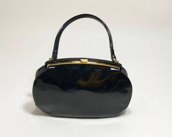 1950's-1960's Patent Leather Top Handle Evening Bag