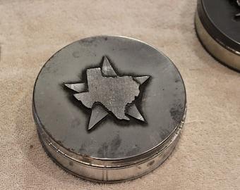 Vintage Metzke Pewter Texas Tin
