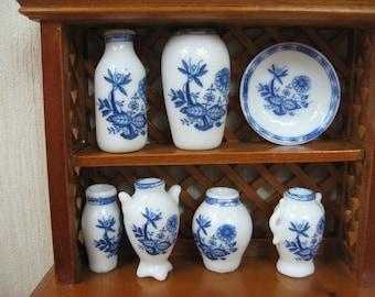 Miniature dolls house 7 pcs vase set