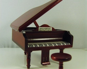 Dolls house miniature grand piano and stool