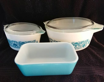 Vintage Pyrex Blue Horizon, Bake, Serve and Store, Refrigerator Collection