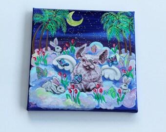 Piggie Heaven, ORIGINAL Acrylic painting, 20x20 cm canvas