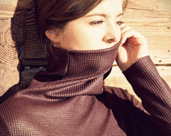 turtleneck sweater, tight sweater, red jersey top, minimalistic top, shiny sweater, wool sweater, bordeaux sweater, 90's top, mock neck