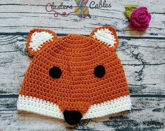 Childrens crochet fox beanie