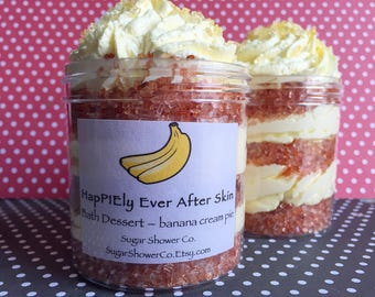 HapPIEly Ever After Skin - Banana Cream Pie Bath Dessert - Whipped Soap - White Sugar & Epsom Salt - Whipped Sugar Scrub - Pie Soap