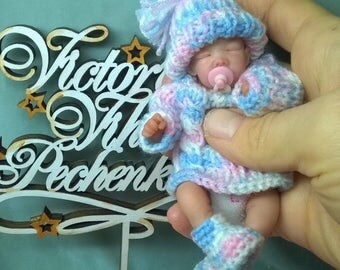 """OOAK Polimer clay baby """" lily"""" 4.7 in"""