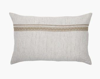 Pillowcase Emmy linen - pillow cases - pillow - stripes - with lace and zip