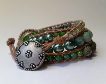 Beaded bracelet, beaded leather bracelet, leather wrap bracelet, green bracelet, womens bracelet, green wrap bracelet, green wrap, womens