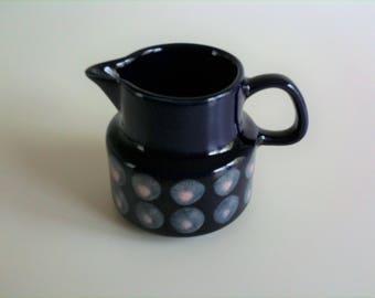 Merry creamer, Melitta, Copenhagen, polka dots, blue, hand painted, vintage, 70s