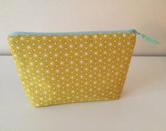 Makeup bag, cosmetic bag, zipper pouch, mustard, yellow, mint