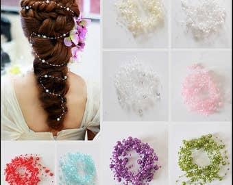 Bridal Hair  Wedding hair Gypsophila hair Gypsophila Long hair Gypsophila Gold Pearl hair Gypsophila bridal headpiece 。