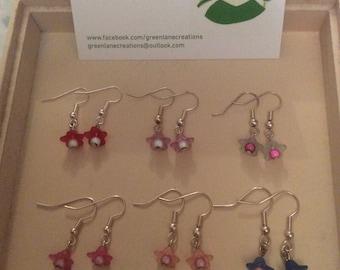 Tiny Fuschia Earrings