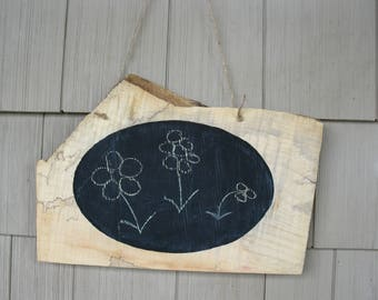 Live edge chalkboard sign