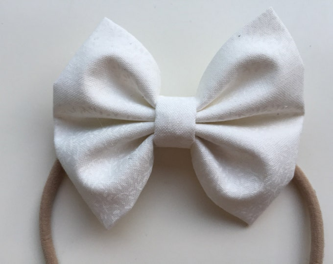 White Leaves fabric hair bow or bow tie