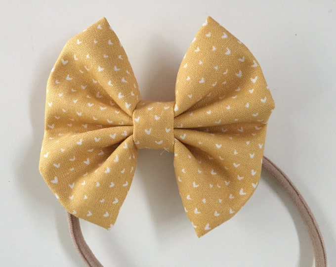 Golden Hearts fabric hair bow or bow tie