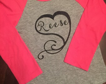 Personalized Heart Baseball Tee