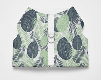 Tropical Leaf Patterned Dog/Cat Harness-Tropical Textile Dog/Cat Harness-Dog/Cat Tropical Leaf Vest Harness