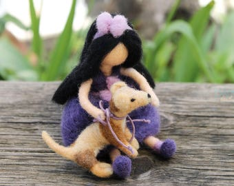 Girl with a Dog - Needle Felted Toy - Waldorf Doll - Friends Couple -  Felted Pet - 100% Pure Wool - Lovely Gift