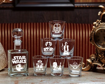 Star Wars Star Wars gift Gift for men Star Wars Glass Whiskey Decanter Set Fathers Gift Christmas Gift Gift for Couple Groomsmen Engraved