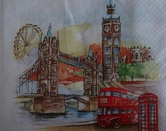 2 x London Theme Napkins, Paper Napkins For Decoupage, Big Ben Motif, Decoupage Serviette, London View Napkin, Scrapbooking Paper (BIG BEN)