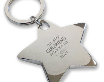 Personalised engraved This star GIRLFRIEND belongs to keyring gift, deluxe chunky star keyring - BE10