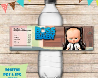 Baby boss water bottle labels  baby boss water bottle wrap baby boss party favors baby boss birthday baby boss printable digital