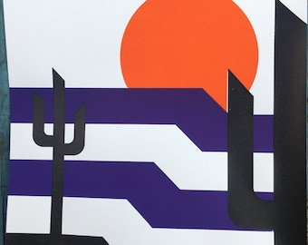 Desert Print, Orange/Purple/Black Sunset, Desert Screenprint, Sonoran Desert, Desert Art