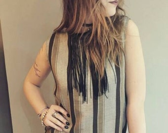 Long sweater in striped VINTAGE fringed applied tints