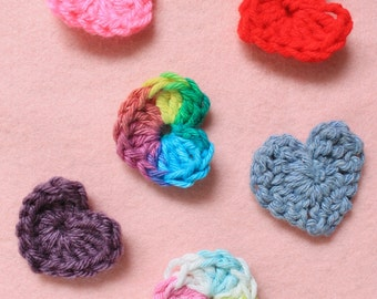 Small crochet hearts, set of five