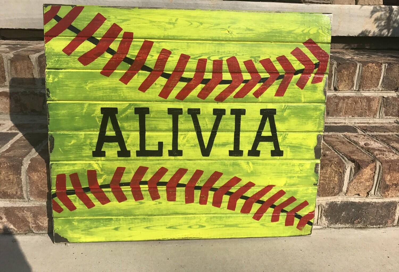 Wood Sign - Rustic Baseball wood sign, Softball wood sign, kids wood ...