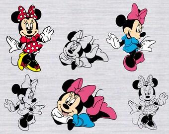 Minnie Mouse SVG Bundle, Minnie svg, Minnie Mouse clipart, Disney svg files for silhouette, cricut download, dxf, png, cut files, cuttable