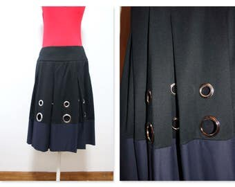 Dark Navy and blue grommet skirt