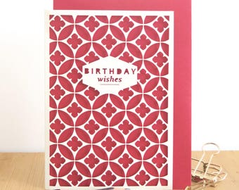 Birthday card, Happy Birthday, Birthday Papercut card, Papercut greeting card,  Cute card, Minimalist card, Sweet card, Celebration card