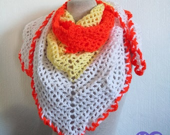 Road Trip Scarf, Crochet Scarf, Handmade Scarf, Small Shawl crochet, Candy corn scarf, White, yellow, orange, Summer scarf, gifts for her,