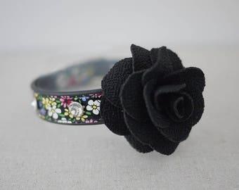 Flower cat leather collar light weight collar metal D ring with flower cat accessories kitten accessories feline gift 1oz