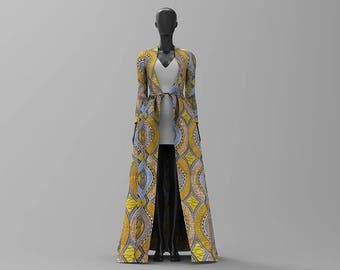 Custom Made African Print and Kente Print Maxi Coat/Mac/Blazer/ Jacket