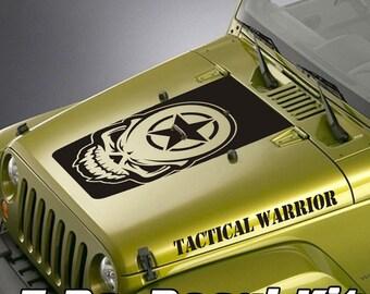 Jeep Wrangler Blackout Hood Decal 3 Piece Sticker Tactical Warrior Kit - Army Star Skull Head Design