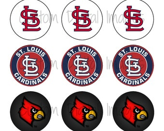 "INSTANT DOWNLOAD St Louis Cardinals Bottle Cap Image Sheet | Digital Image Sheet | 4""x6"" Sheet with 15 Images"