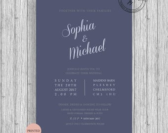 Anchor Nautical Themed Wedding Invitations Customized Personalized A5 A6