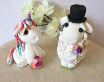 Unicorn Bride and Sheep Groom Clay Wedding Cake Topper- Custom Made to Order