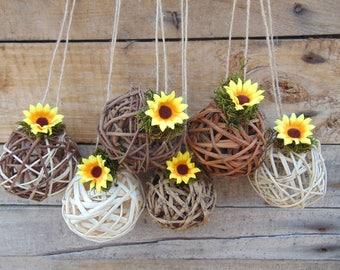 Sunflower Kissing Ball Centerpiece, Flower Girl Pomander Ball, Twig Grapevine Ball, Rustic Summer Sunflower Wedding, Wicker Balls, decor