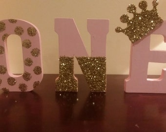 Pink and gold Princess ONE wood letters